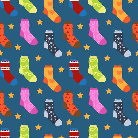 Winter socks with different prints seamless pattern. Christmas sock repeating texture. Endless background. Vector illustration