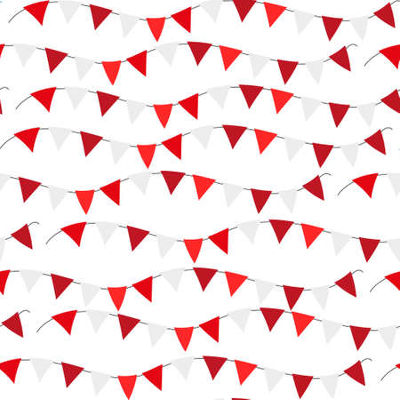 Poland Independence day seamless pattern. Red, white flags, bunting repeating texture, endless background. Isolated on white background. Vector illustration Ilustrace