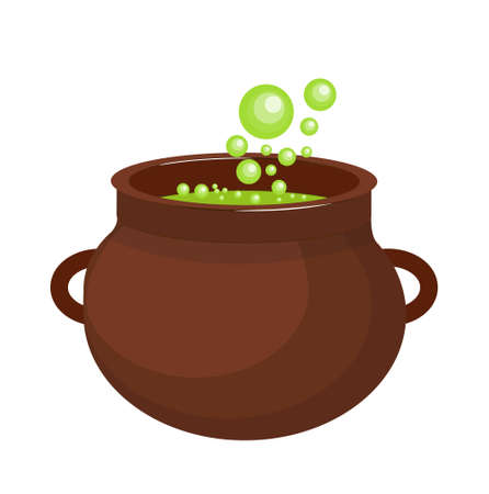 Pot with a potion icon flat style. Isolated on white background Vector illustration