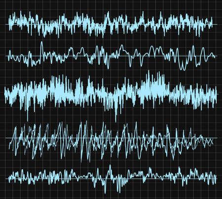 Sound wave set. Audio technology, musical pulse. Vector illustration