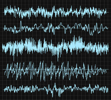 Sound wave set. Audio technology, musical pulse. Vector illustration