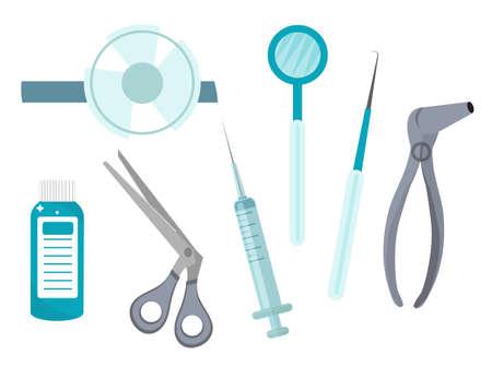 Otolaryngology tools icons, flat style. ENT equipment, isolated on white background. Medicine concept. Vector illustration