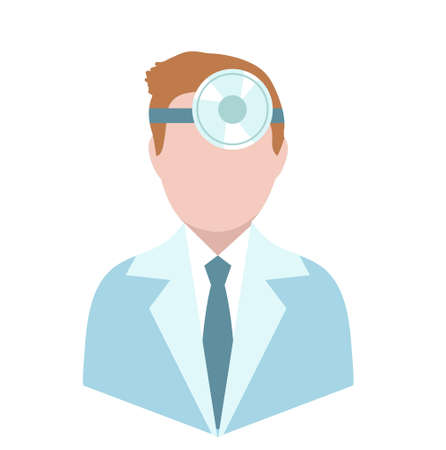 Otolaryngologist, flat style. Doctor treating ear, throat, nose. ENT avatar, isolated on white background. Medicine concept Vector illustration Illustration