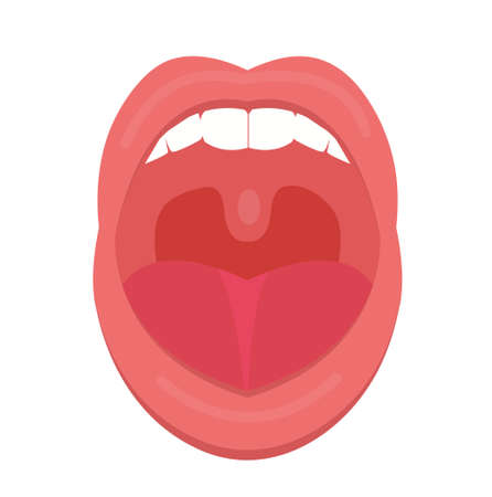 Open mouth icon flat style. Throat, tonsils. Scream. Medicine treatment concept. Vector illustration