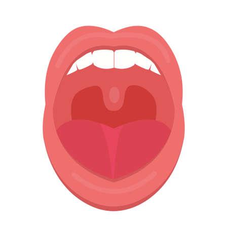 Ouvrir le style plat d'icône bouche. Gorge, amygdales. Crier. Concept de traitement de médecine. Illustration vectorielle
