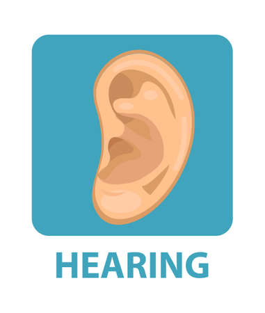 Sensitive hearing icon flat style. Ear. Isolated on white background. Vector illustration