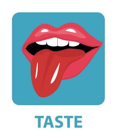 Sense of taste icon flat style. Isolated on white background. Vector illustration