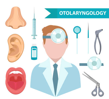 Otolaryngology icon set, flat style. ENT collection of design elements, isolated on white background. Medicine concept.