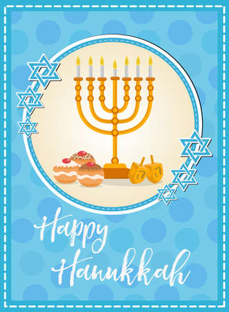 Happy Hanukkah greeting card, flyer, poster. Template for your invitation design. With menorah, sufganiyot, bunting, dreidel, coins oil Jewish holiday Vector illustration