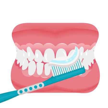 Szczęka z zębami i szczoteczka do zębów ikona stylu płaski. Otwarte usta, protezy. Stomatologia, koncepcja medycyny. Na białym tle. Ilustracja wektorowa