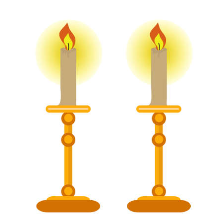 Candles icon, flat style. Isolated on white background. Vector illustration