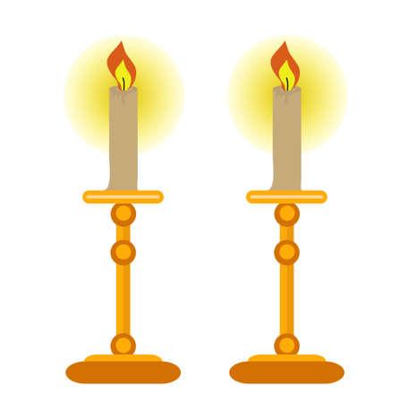 Icône de bougies, style plat. Isolé sur fond blanc Illustration vectorielle