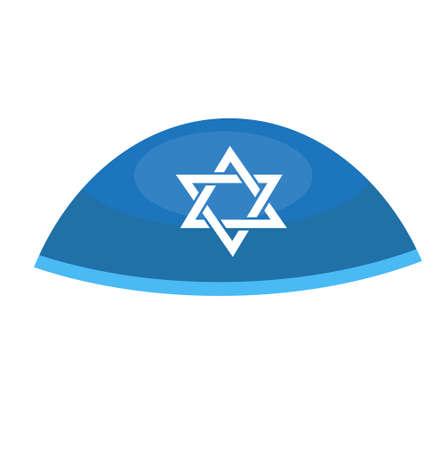 ヘブライ語ベールアイコン、フラットスタイル。宗教的なユダヤ人の帽子。白の背景に分離。ベクターイラスト  イラスト・ベクター素材
