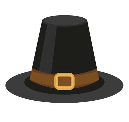 Pilgrim hat icon, flat style. Thanksgiving headdress. Isolated on white background. Vector illustration Illustration