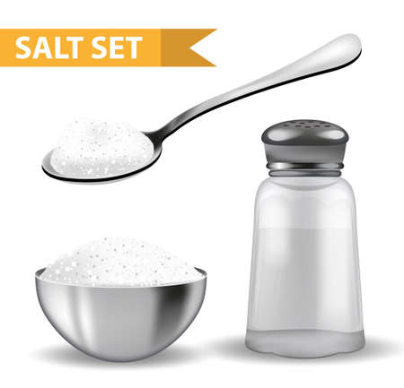 coarse: Realistic 3d set with  salt shaker,  spoon of salt,  steel bowl. Isolated on white background. Glass jar for spices. Ingredients for cooking concept. Vector illustration