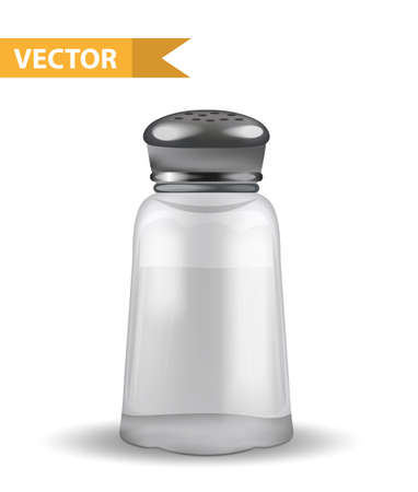 Realistic 3d salt shaker. Glass jar for spices. Isolated on white background. Ingredient for cooking. Vector illustration