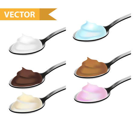 Realistic teaspoon with cream, yogurt, chocolate, caramel set. 3d tablespoon or spoon  dessert collection. Isolated on white background. Vector illustration