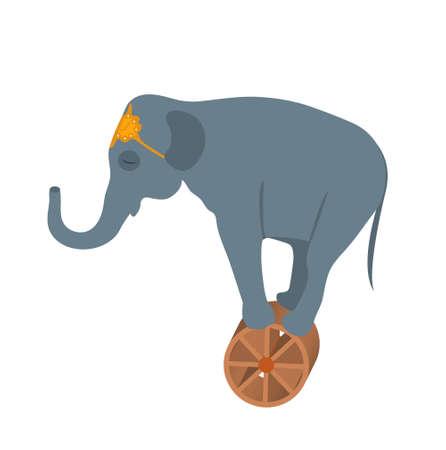 Elefante del circo sullo stile dell'icona della ruota piano, isolato su fondo bianco. Illustrazione vettoriale