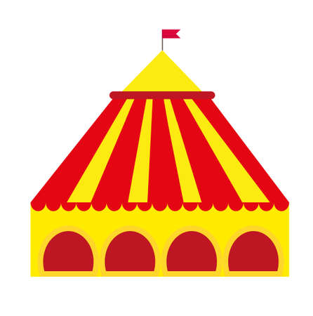 Circus pavilion, yellow tent icon flat style , isolated on white background. Vector illustration