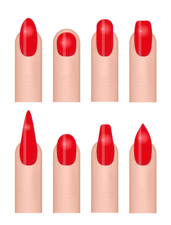 Manicure set of icons with different forms of nails, fashion nail shapes. Female hand care. Isolated on white background. Vector illustration
