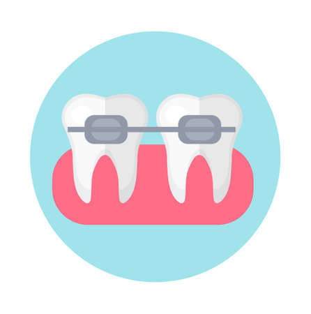 Brackets on the teeth. Icon flat style. Dentistry, dentist concept. Isolated on white background.