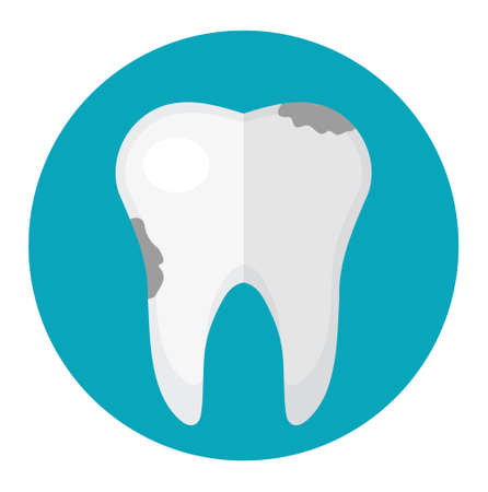 Dirty tooth, caries icon in flat style. Dentistry, dentist concept. Vector illustration Illustration