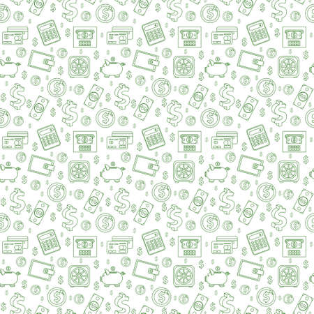 Money seamless pattern, line style. Finances endless background. Business, bank repeating texture with dollars, coins, coin box, calculator. Vector illustration