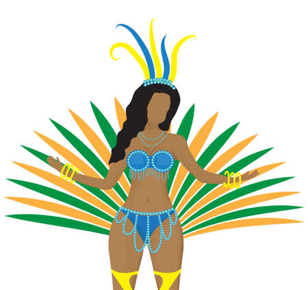 Girls in carnival costumes. Brazilian samba dancers. Rio de Janeiro women dancing. Isolated on white background. Vector illustration