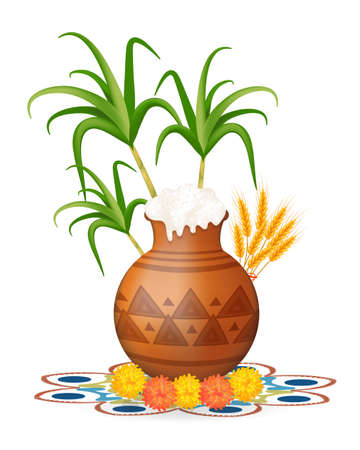 Happy pongal greeting card. Holiday India. Festival of harvesting celebrations with rice in traditional mud pot, sugarcane, marigold or genda or zendu flower on colorful rangoli. Vector illustration