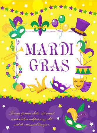 Cartel de carnaval de Mardi Gras, invitación, tarjeta de felicitación. Feliz plantilla Mardi Gras para su diseño con plumas de la máscara, perlas. Vacaciones en Nueva Orleans. Fondo de martes gordo. Ilustración vectorial