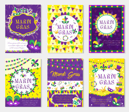 Mardi Gras carnival set poster, invitation, greeting card. ollection templates for your design with mask feathers. Festival, Holiday in New Orleans. Fat Tuesday background. Vector illustration Illustration