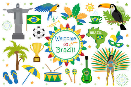 Brazilian carnival icons flat style.