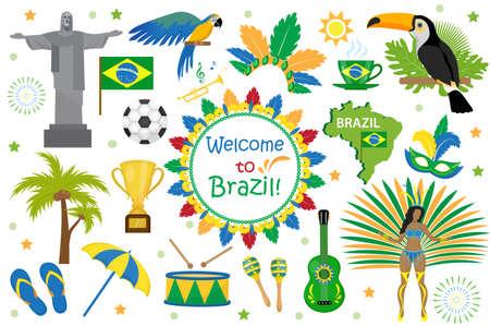 Estilo plano de los iconos de carnaval brasileño. Ilustración de vector