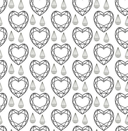 Diamond seamless pattern, line, sketch, doodle style. Modern trendy endless background with jewelry. Gems repetitive texture. Gemstone wallpaper, backdrop, paper. Vector illustration 일러스트