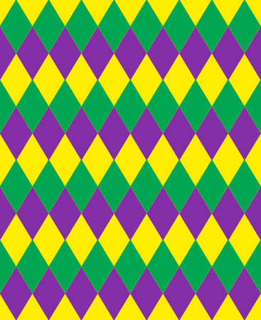 Mardi Gras abstract geometric pattern. Purple, yellow, green rhombus repeating texture. Endless background, wallpaper, backdrop. Vector illustration. Illustration