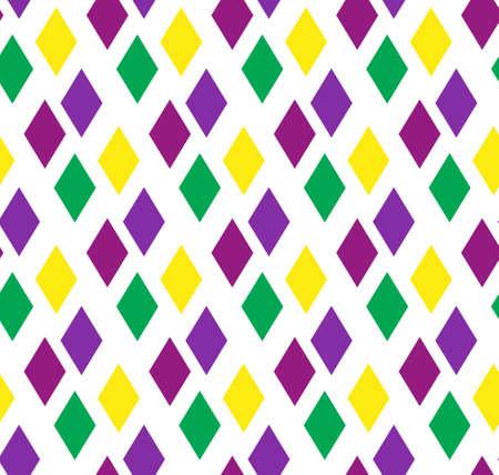 Mardi Gras abstract geometric pattern. Purple, yellow, green rhombus repeating texture. Endless background, wallpaper, backdrop. Vector illustration. Stock Illustratie