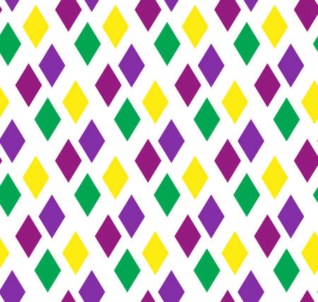 Mardi Gras abstract geometric pattern. Purple, yellow, green rhombus repeating texture. Endless background, wallpaper, backdrop. Vector illustration. Vettoriali