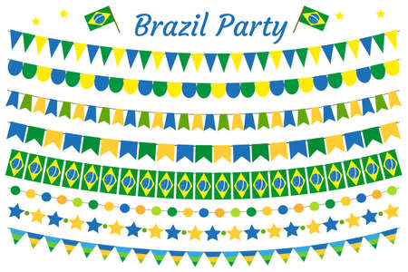 Brazil garland set. Brazilian Festive decorations bunting. Party elements, flags. Isolated on white background. Vector illustration, clip art Illustration