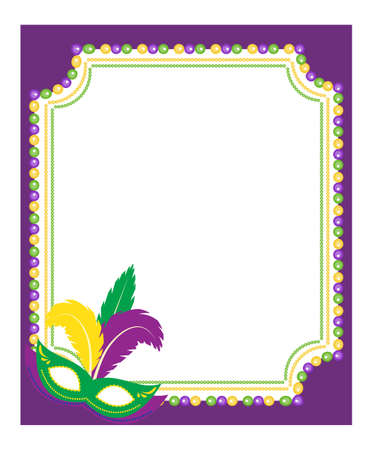 Mardi Gras beads colored frame with a mask, isolated on white background. Template poster. Vector illustration