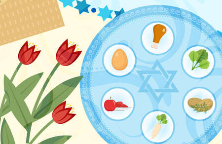 Pesach template for your design with festive Seder table, kosher food, matzah, david star. Jewish holiday background. Vector illustration Illustration