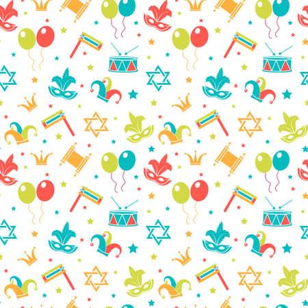 Carnaval naadloos patroon. Purim repetitieve textuur. Vakantie, maskerade, festival, verjaardagsfeest. Eindeloze achtergrond, achtergrond, behang, papier. Vector illustratie Stock Illustratie