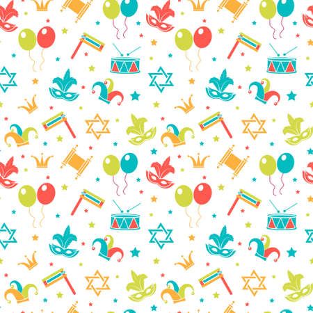 Carnival seamless pattern. Purim repetitive texture. Holiday, masquerade, festival, birthday party. Endless background, backdrop, wallpaper, paper. Vector illustration Illustration