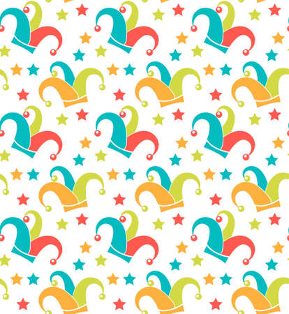 Carnival seamless pattern. Purim repetitive texture. Holiday, masquerade, festival, party. Endless background, backdrop wallpaper paper Vector illustration