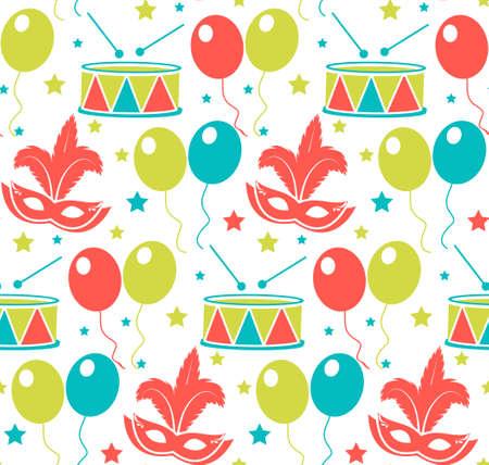 Carnaval naadloos patroon. Purim repetitieve textuur. Vakantie, maskerade, festival, verjaardagsfeest. Eindeloze achtergrond, achtergrond behang papier Vector illustratie