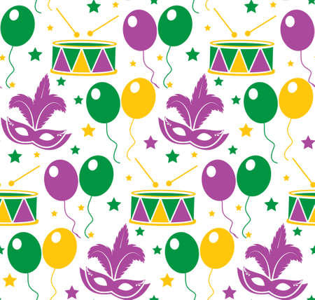 Mardi Gras Carnival seamless pattern with mask feathers. Endless background, texture, wallpaper. Vector illustration Illustration