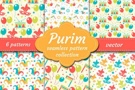 Carnaval naadloze patroon set. Collectie Purim achtergrond. Vakantie, maskerade, festival, verjaardagsfeest. Eindeloze achtergrond, repetitieve textuur, behangpapier Vector illustratie