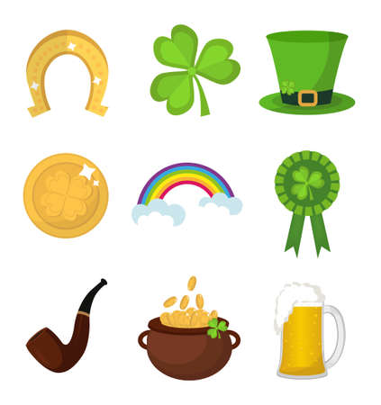 St. Patricks Day icon set design element. Traditional irish symbols in modern flat style. Isolated on white background. Vector illustration, clip art Çizim