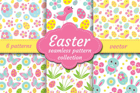 Cute Easter seamless pattern set with nestling, rabbit, eggs, flowers. Spring collection repeating textures for children, kids, baby endless background kit vector illustration.