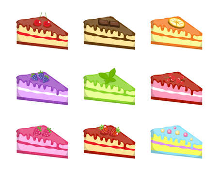 Pieces of cake icons set Illustration