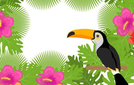 Tropical frame with flowers, plants and bird toucan. Summer floral template for your design. Exotic background. Vector illustration